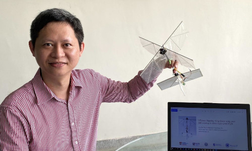 Mechanical engineer Gih-Keong Lau with the drone prototype.
